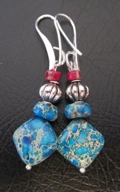 CIJ   Blue Jasper Earrings with Silver      SALE by LeanneDesigns, $10.00 Shop Sale, Jasper, Christmas Ornaments, Trending Outfits, Holiday Decor, Unique Jewelry, Handmade Gifts, Earrings, Silver