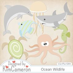 Ocean Sea Wildlife - Layered PSD Templates with PNG by Kim Cameron for Digital Scrapbooking #CUDigitals