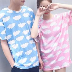 Harajuku clouds printed t-shirts