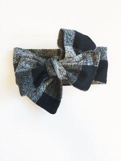Flannel Headwrap, baby headwrap, toddler headwrap, baby headband, baby girl headwrap, black and grey headband, baby gift, newborn, baby
