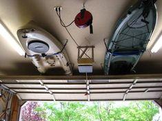 Kayak Garage Storage How-To Kajak-Garage-Speicher-How-To Garage Shed, Garage House, Diy Garage, Small Garage, Garage Doors, Garage Office, Detached Garage, Kayak Storage Rack, Kayak Rack