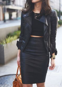 ❤️High waist with crop❤️ Don't care if this is a trend now, this is my style. Gotta love the leather