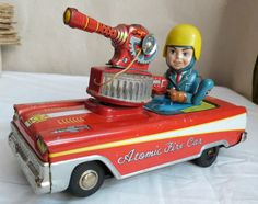 Vintage 50's tin space toy - Atomic Fire Car by Nomura, Japan