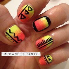 amazingly cute bright gradient tribal nail design!