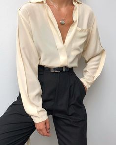 Vintage silk paired with Na Nin Townes Trousers in black raw silk. Shop online n… - Vintage silk paired with Na Nin Townes Trousers in black raw silk. Shop online n… Vintage silk paired with Na Nin Townes Trousers in black raw silk. Shop online now 💧 – - Casual Skirts, Casual Outfits, Cute Outfits, Casual Shoes, Dress Outfits, Summer Outfits, Trouser Outfits, Work Outfits, Vintage Outfits