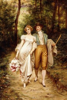 Wood Painting - Courtship by Joseph Frederic Charles Soulacroix