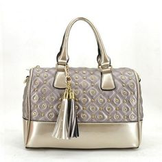 Stud Decorated Satchel Bag with Tassel MORE COLORS