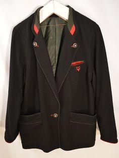 Tyrol Jacket Mens size 44 L St Hubert's Stag Black Wool Blazer Oktoberfest Loden #TryolerLoden #BasicJacket