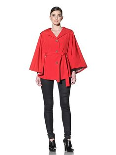 Calvin Klein Belted Cape with Hood