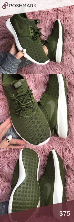 NWT Nike juvenate faded olive Brand new,no box lid!price is firm,no trades!The Nike Juvenate has a fully collapsible upper with no tongue and a sock-like construction, which means seamless comfort and easy transportation. Airy mesh upper with honeycomb-shaped foam pads for warm-weather comfort and style. Full-length midsole is durable enough to serve as an outsole. Rubber outsole with Waffle -inspired design for traction and durability. Please check my closet for more Roshe and air max…