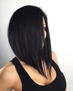 40 Chic Angled Bob Haircuts Black Angled Lob For Straight Hair Black Long Bob, Medium Hair Styles, Short Hair Styles, Medium Curly, Bob Cut Wigs, Angled Bob Haircuts, Straight Haircuts, Long Angled Haircut, Black Bob Haircut