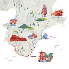 CREA Traveller : Masako Kubo Must make maps Map Design, Book Design, Travel Illustration, Winter Scenes, Map Art, Vintage Travel, Travel Maps, Illustrators, Print Patterns