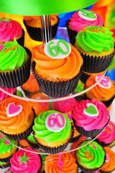 Birthday party cupcakes - love the bright color scheme! Neon Cupcakes, Custom Cupcakes, Cupcake Cakes, Cup Cakes, Party Cupcakes, Easter Cupcakes, 60th Birthday Ideas For Dad, 4th Birthday Cakes, 60th Birthday Party