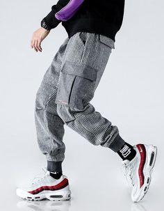 00da058f0f4 MOO AZ3 Striped Cargo Pant Sirwal in Grey Graphic Shirts