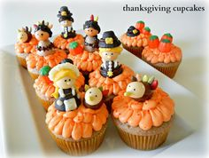 Sugar Swings! Serve Some: Thanksgiving Cupcakes with Pilgrim, American Indian, and Turkey Candy Toppers
