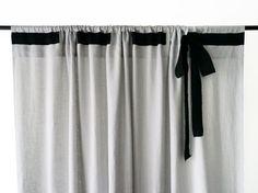 Linen curtain Custom color Rod pocket top Bow by LovelyHomeIdea