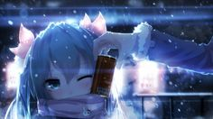 Anime Wallpaper 2560 x 1440 Hatsune Miku, snow, cold, blue, scarf