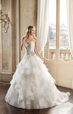 Eddy K Style EK1079. Sweetheart, Lace/Tulle, Sleeveless, Ball Gown. Colors: Ivory / Silver.