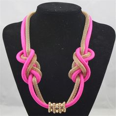 APY Neon rope necklaces long design fashion fluorescent hand-woven cotton rope with long necklace sweater chain Rope Jewelry, Macrame Jewelry, Fabric Jewelry, Collar Macrame, Macrame Colar, Knot Necklace, Crochet Necklace, Pendant Necklace, African Necklace
