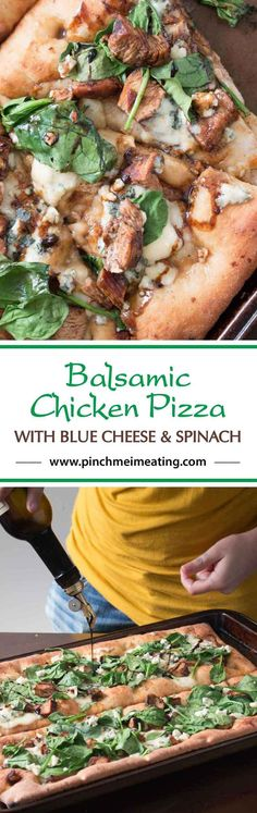 Looking for a unique gourmet pizza? Balsamic chicken pizza with blue cheese and spinach on an olive oil and garlic base might be just the thing!