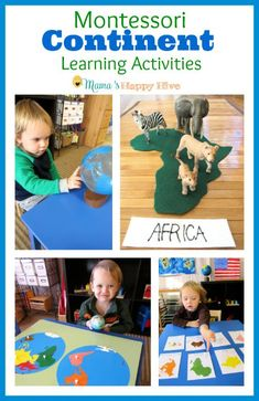 Enjoy Montessori continent learning activities that include the sandpaper globe, colored globe, 3-part cards, song, continent map, and extension exercises. - www.mamashappyhive.com