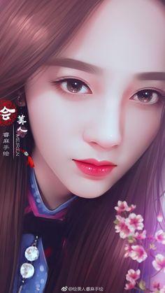 Anime Girl Cute, Anime Art Girl, Kpop Drawings, Art Drawings, Painting Of Girl, Beautiful Asian Girls, Chinese Art, Asian Art, Female Art