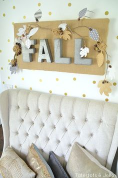 fall burlap wall hanging and leaves using the Home+Mde line at tatertots and jello