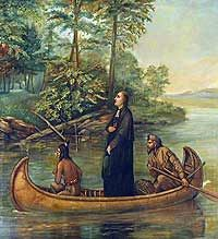 Marquette & Joliet-Jacques Marquette joined the Society of Jesus at age 17 and became a Jesuit missionary. He founded missions in present-day Michigan and later joined explorer Louis Joliet on an expedition to discover and map the Mississippi River.