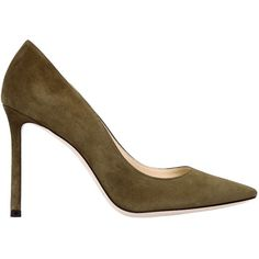 Jimmy Choo Women 100mm Romy Suede Pumps (38.140 RUB) ❤ liked on Polyvore featuring shoes, pumps, military green, high heel court shoes, olive green pumps, jimmy choo pumps, leather sole shoes and suede shoes