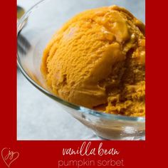 There is always room for dessert if you serve sorbet. This creamy pumpkin sorbet with cinnamon and nutmeg has all the elements of pumpkin pie.The essence of pumpkin pie comes alive in this creamy sorbet. The perfect complement to any fall meal. #vegan #fall #sorbet Vegan Gluten Free, Gluten Free Recipes, Non Dairy Desserts, Vanilla Flavoring, Some Recipe, Pumpkin Puree, Sorbet, Fall Recipes, Free Food