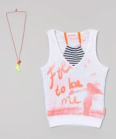 Look at this #zulilyfind! White 'Free to be Me' Top & Necklace - Girls #zulilyfinds