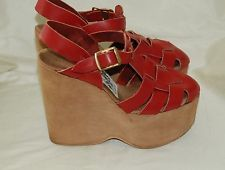 Vintage 70s Platform Wedge Heels Goody Two Shoes Stacked Disco RED Leather 8