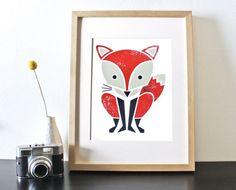 Red Fox Screenprint Nursery Art Woodland Art by sassandperil, $20.00