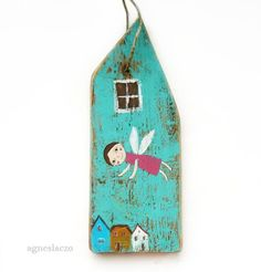angel above - rustic wall hanging- home decoration - house Wooden Art, Wooden Crafts, Diy And Crafts, Driftwood Projects, Driftwood Art, Miniature Houses, House In The Woods, Wood Blocks, Painting On Wood