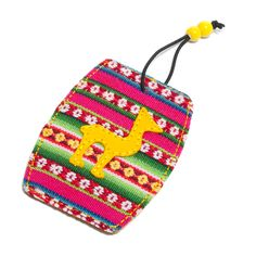 Colorful travel tag made from Peruvian textiles.