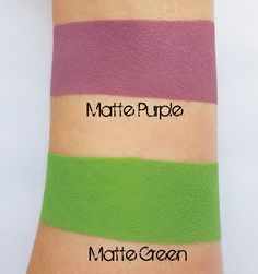 Swatches of loose eyeshadow pigments Matte Purple and Matte Green.  Both colors are vegan and cruelty free.  Mazzie Cosmetics