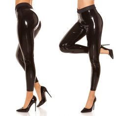Sexy Black Latex Vinyl Rubber PU Leather Wet Look Shiny Leggings Trousers Pvc Leggings, Wet Look Leggings, Shiny Leggings, Latex Pants, Latex Dress, Small Bathroom With Shower, How To Look Skinnier, Black Skinnies, Color Negra