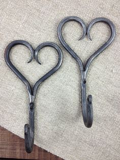 Hand forged Iron Heart Hook