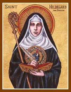 St. Hildegard von Bingen icon by Theophilia