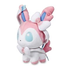 A big head, tiny feet, and huge embroidered eyes—that's the super-cute look for the official Sylveon Pokémon Dolls plush!