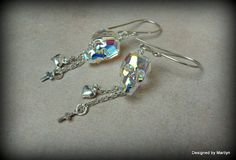 Aurora crystal Skull earrings, day of the dead, Sterling silver and crystall earrings, Gothic jewelry, boho jewelry