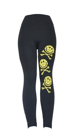 Yellow Skull Studded Black Leggings Full Length * You can get more details by clicking on the image.