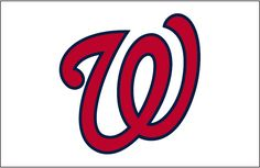 Washington Nationals Jersey Logo (2011) - A curly W in red with a blue outline on white, worn on the front of the Washington Nationals home uniform beginning in 2011