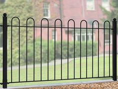 The wrought iron style Court Fence Panels are constructed using solid steel with a safety hoop top which makes them ideal for fencing in children's play areas and parks. Brick Fence, Front Yard Fence, Low Fence, Fence Stain, Concrete Fence, Pallet Fence, Bamboo Fence, Cedar Fence, Fence Doors