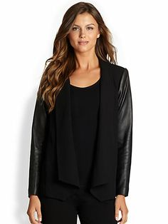 Eileen Fisher - Leather-Sleeved Angled Jacket - Saks.com