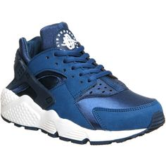 Nike Air Huarache ($135) ❤ liked on Polyvore featuring shoes, sneakers, huarache, blue force sail, trainers, unisex sports, nike shoes, nike, blue leather shoes and sports footwear