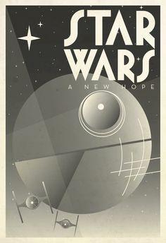 "STAR WARS: Film Poster, Art Deco, Modern Art Print, 13"" x 19"". $30.00, via Etsy."