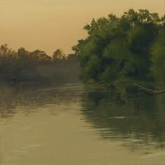 """""""River Crossing"""" by John Dean, Acrylic on stretched canvas,  11"""" x 11"""""""