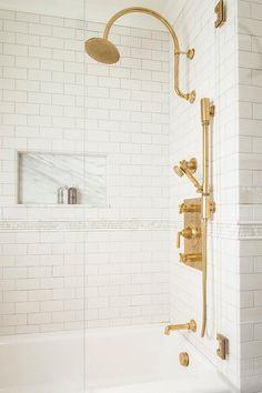 Aged brass vintage shower head