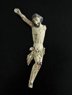 Een polychroom geschilderd en gesneden houten Corpus Christi - waarschijnlijk Spaanse koloniale - 18e eeuw  Christus afgebeeld met een serene uitstraling.Lengte 34 cm  EUR 1.00  Meer informatie